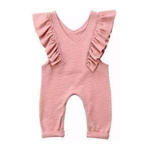 Other - Toddler pink knit romper jumper jumpsuit pants